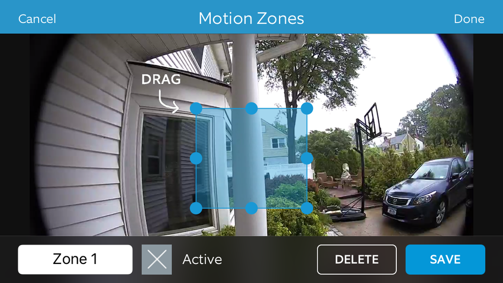 Example of selection of Motion Zones on Ring Video Doorbell Pro