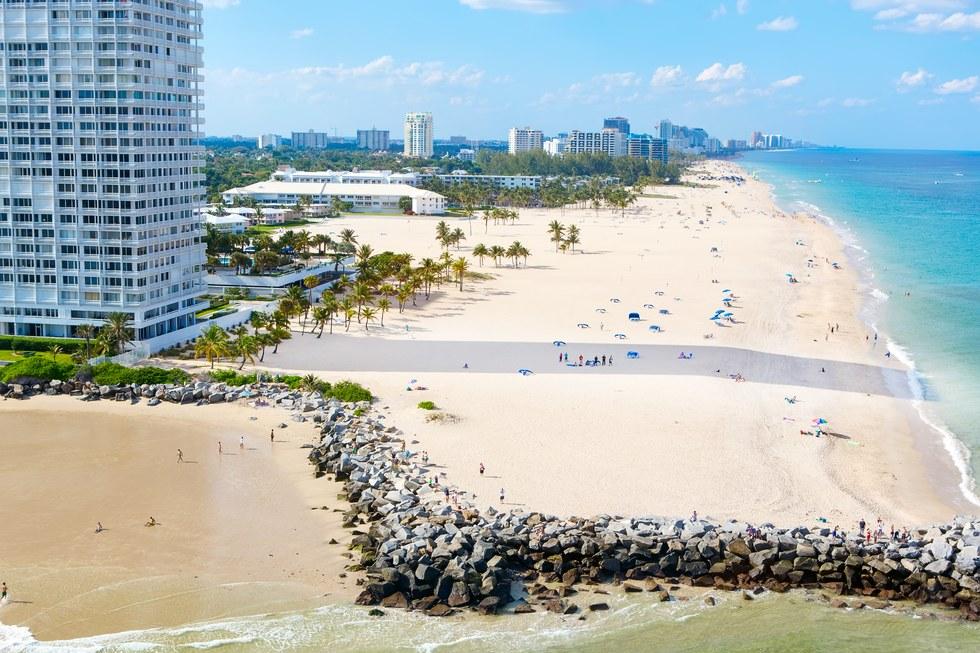 Aerial beach view of Miami, Florida