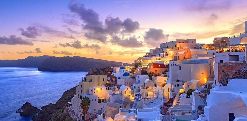 Vivid sunset in Santorini, Greece